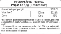 VITAMINA C EFERVESCENTE + ZINCO - TABELA NUTRICIONAL